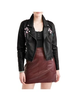 New Look Juniors' Floral Embroidered Moto Jacket by New Look