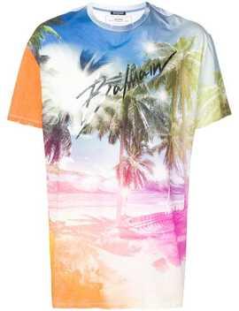 Beach Print T Shirt by Balmain