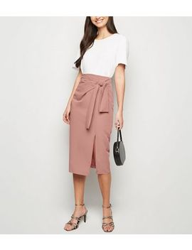 Camel Tie Side Midi Skirt by New Look