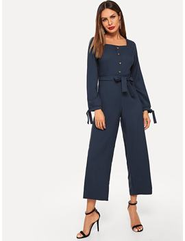 Single Button Knot Waist Square Neck Jumpsuits by Romwe