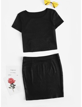 Solid Top With Zip Side Skirt by Romwe