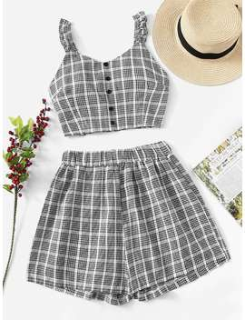 Single Breasted Plaid Top With Shorts by Romwe