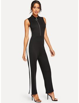 Zip Front Stand Collar Jumpsuits by Romwe