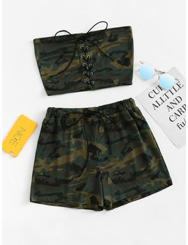 Lace Up Camo Tube Top With Shorts by Romwe