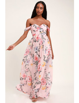 Harmonious Love Blush Floral Print Off The Shoulder Maxi Dress by Lulus