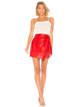 Jazzy Faux Leather Wrap Skirt by About Us