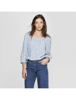 Women's Long Sleeve Striped Square Neck Top   Universal Thread™ Blue by Universal Thread