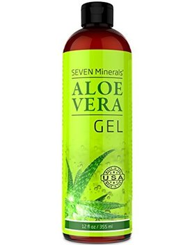 Organic Aloe Vera Gel With 100 Percents Pure Aloe From Freshly Cut Aloe Plant, Not Powder   No Xanthan, So It Absorbs Rapidly With No Sticky Residue   Big 12 Oz by Seven Minerals