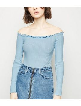 Pale Blue Frill Trim Bardot Bodysuit by New Look