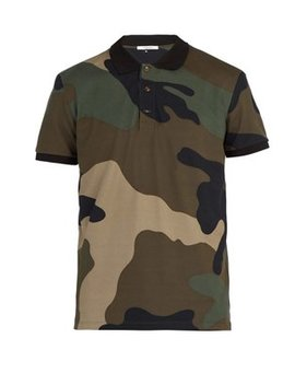 Enlarged Camouflage Print Cotton Piqué Polo Shirt by Valentino