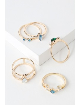 Caught Your Eye Gold And Blue Rhinestone Ring Set by Lulus