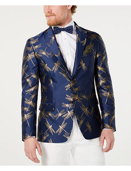 Men's Slim Fit Navy/Gold Dragonfly Jacquard Dinner Jacket by Tallia