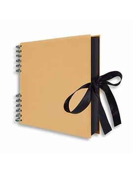 """Scrapbook, 12x9"""" Photo Album 40 Black Pages, Great For Craft Paper Anniversary Gifts, Wedding Guest Book, Mothers' Day Diy Photo (Brown 3) by Fun Sponsor"""