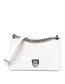 Christian Dior Patent Calfskin Micro Cannage Small Diorama Flap Bag White by Christian Dior