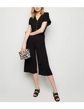 Black Ribbed Button Up Tie Waist Jumpsuit by New Look