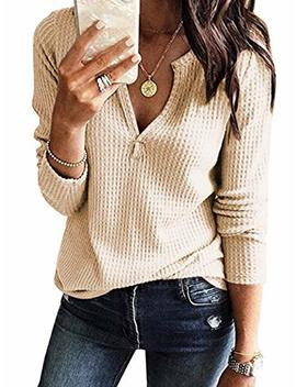 Famulily Womens Long Sleeve Tshirt V Neck Loose Fit Soft Waffle Knit Thermal Tops by Famulily