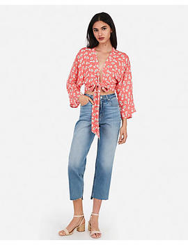 Floral Tie Front Cropped Top by Express