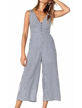 Ecowish Womens Jumpsuits Casual Button Deep V Neck Sleeveless High Waist Wide Leg Jumpsuit Rompers With Pockets by Ecowish
