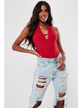 Red Halterneck Tab Front Sleeveless Bodysuit by Missguided