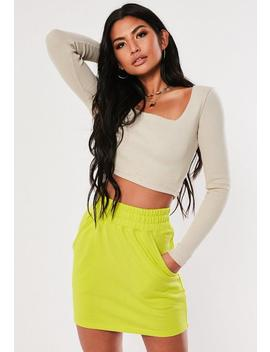 Neon Lime Loopback Pocket Mini Skirt by Missguided