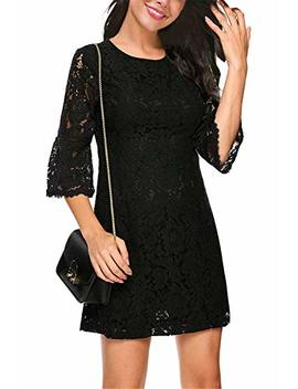 Twinklady Women's 3/4 Bell Sleeve Floral Lace Elegant Cocktail Party A Line Mini Dress by Twinklady