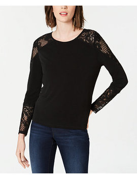 I.N.C. Lace Detail Long Sleeve Top, Created For Macy's by Inc International Concepts