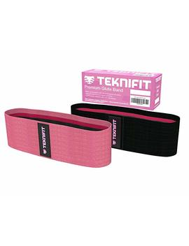 Teknifit Booty Builder | Premium Glute Activation Band | Pink Or Black Fabric Hip Resistance Circle With Elastic Non Slip Design For Women | Includes Free Workout Guide by Teknifit