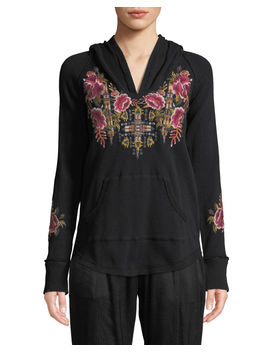 Axton Thermal Pullover Hoodie With Embroidery by Johnny Was
