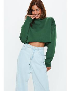 Green Cropped Sweatshirt by Missguided
