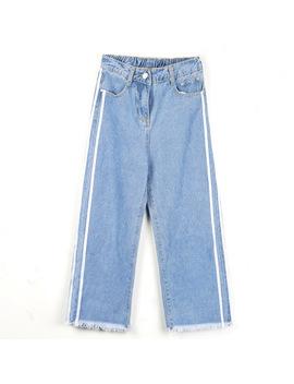 Lguc.H 2018 Korea Jeans Women Unique Stripe Cropped Jeans Woman Denim Straight Pants Teenage Girl Female Trousers Street Wear Xs by Lguc.H