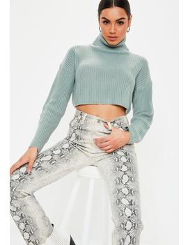Petite Green Roll Neck Knitted Cropped Jumper by Missguided