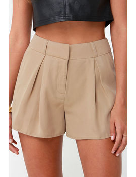 First Class Traveler Beige High Waisted Shorts by Lulus