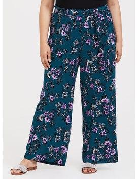 Teal Floral Challis Wide Leg Pant by Torrid
