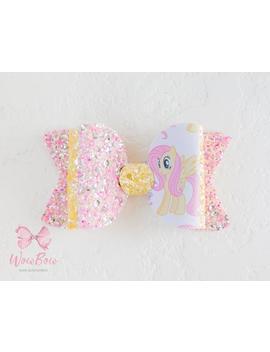 Fluttershy Hair Bow Chunky Glitter Bow My Little Pony Birthday Outfit Fluttershy Clip Little Pony Party Favors My Little Pony Headband by Etsy