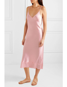 Rose Silk Satin Midi Dress by Lee Mathews
