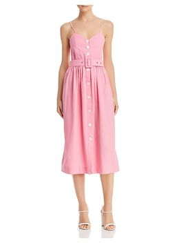 Belted Button Front Midi Dress by S/W/F