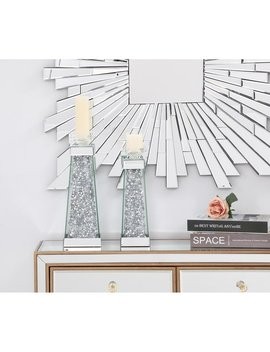 14in. Contemporary Silver Crystal Candleholder by Indigo Home
