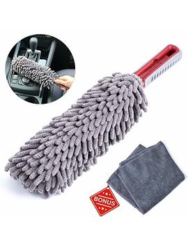 Interior Car Detail Duster   Free Microfiber Towel   360° Microfiber Fingers   Lint Free   Unbreakable Comfort Handle   Car And Home Interior Use   The Best Multipurpose Car Duster by Takavu