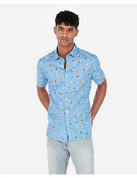 Classic Cocktail Tiki Short Sleeve Shirt by Express