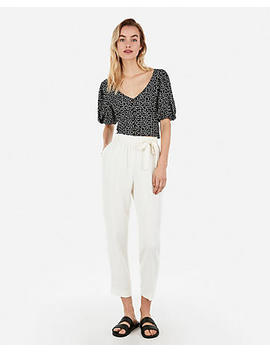 Printed Puff Sleeve V Neck Botton Top by Express