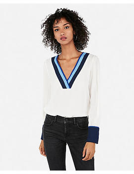 Color Block Contrast Cuff Top by Express