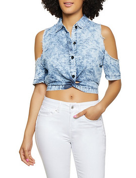 Twist Front Cold Shoulder Denim Top by Rainbow