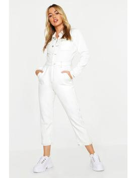 Petite Contrast Stitch Boiler Suit by Boohoo