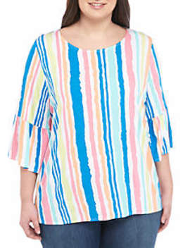 Plus Size Bell Sleeve Stripe Top by Ruby Rd
