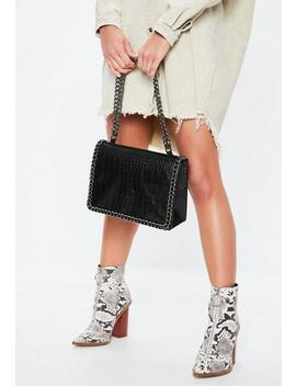 Black Large Chain Trim Shoulder Bag by Missguided