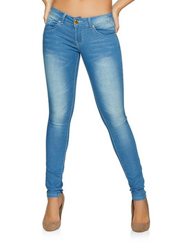Vip Whiskered Push Up Skinny Jeans | Light Wash by Rainbow