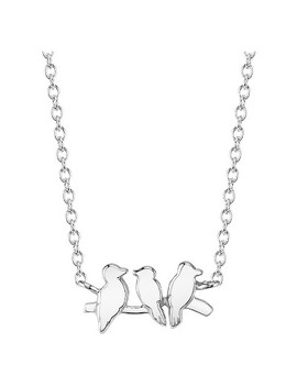 "Women's Sterling Silver Birds Station Necklace   Silver (18"") by Target"
