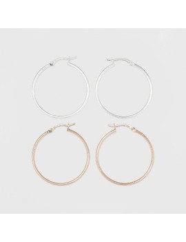 Two Tone Sterling Silver Hoop Fine Jewelry Earrings   A New Day™ Silver/Rose Gold by A New Day