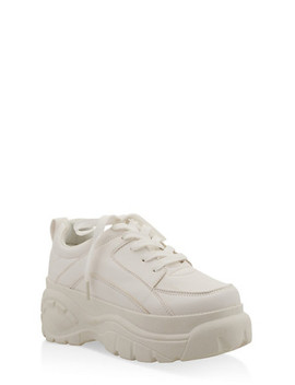 Solid Lace Up Platform Sneakers by Rainbow