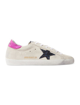 Superstar Leather Trimmed Glittered Distressed Suede Sneakers by Golden Goose